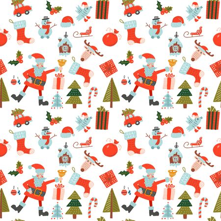 Stylish Merry Christmas seamless pattern with Santa Claus, bird, candies and toys. Seamless pattern for wallpapers, pattern fills, web page backgrounds. Flat hand drawn vector illustration.