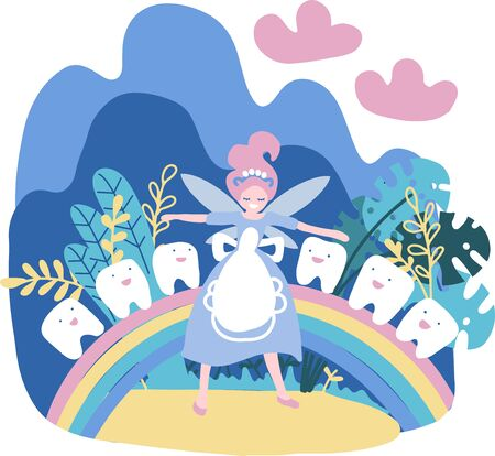 The little girl princess with tooth among the clouds on a rainbow Vector illustration on the theme of children. Tooth Fairy in the clouds. Magic flat hand drawn vector illustration.