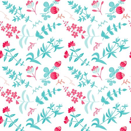Vector seamless pattern with herbal tea plants, flowers, branches. Hand drawing doodle flat texture. Trendy tea background.