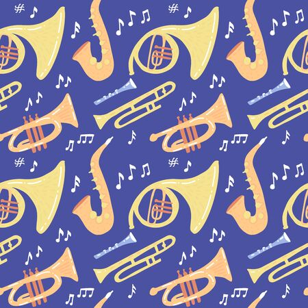Seamless pattern with wind musical instruments - trombone, trumpet, saxophone, french horn on dark blue background. Vector flat hand drawn illustration.