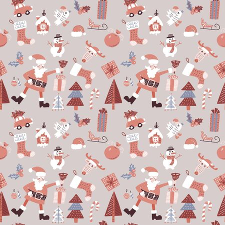 Doodle Merry Christmas seamless pattern with Santa Claus, bird, candies and toys. Seamless pattern for wallpapers, pattern fills, web page backgrounds. Flat hand drawn vector illustration.