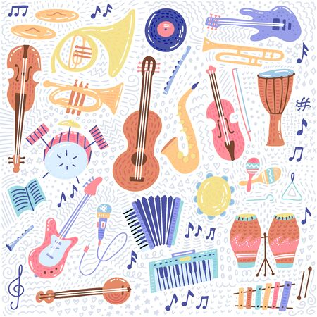Big Music set musical instrument and symbols icons collections. Cartoon sound concept elements. Music notes with Piano, Guitar, Violin, Trumpet, Drum, Saxophone and Harp. Hand drawn doodle Vector. 일러스트