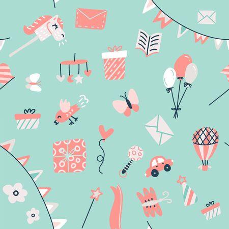 Patrón de artículos para bebés con juguetes, regalos, guirnaldas y otros artículos para baby shower, textil, álbum de recortes, fondo. Ilustración de doodle dibujado a mano plana. Ilustración de vector