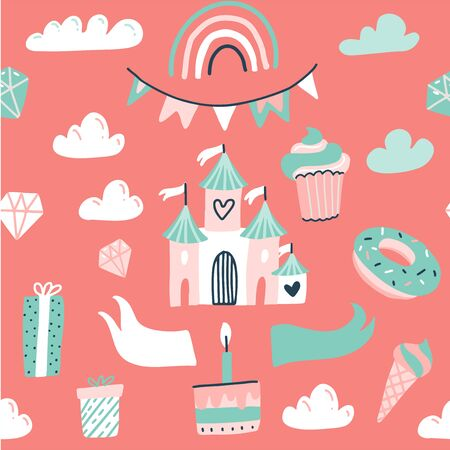 Seamless pattern with pink princess castle, flag garland, sweets and raindow. Flat hand drawn doodle illustration.