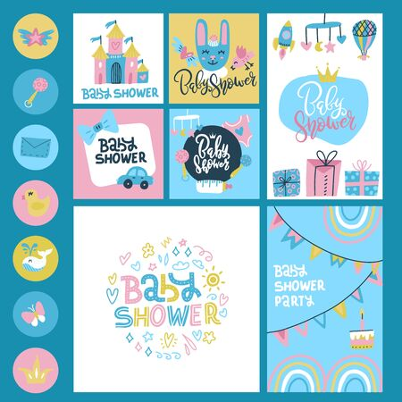 Baby Shower or Arrival big Set - Tags, Banners, Labels, Cards with childish characters, toys and lettering. Flat hand drawn doodle illustration