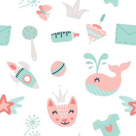 baby goods pattern. vector seamless pattern with toys and other baby goods for baby shower, textile, scrapbook, background Foto de archivo - 133652078