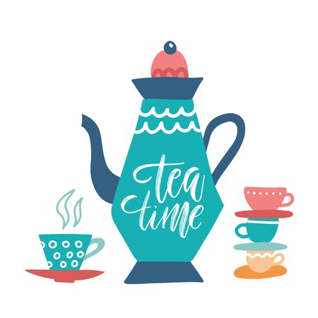 Tea Time and teapot hand drawn vector illustration and lettering. Isolated on white background. Cartoon style. Design for decor, cards, print, web, poster, banner, t-shirt