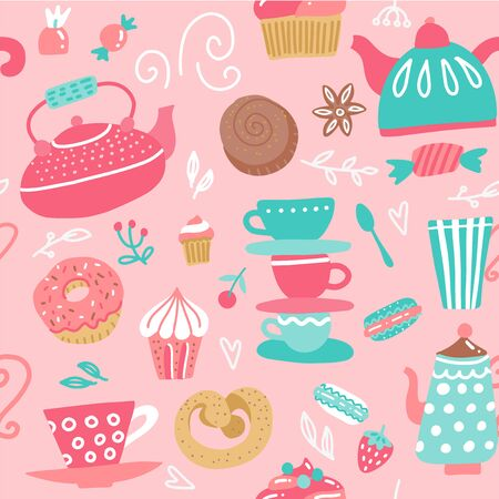 Seamless pattern with tea kettles. Cups, sweets, candies. Food and drinks. Hand drawn vector background made in cartoon flat style Illustration