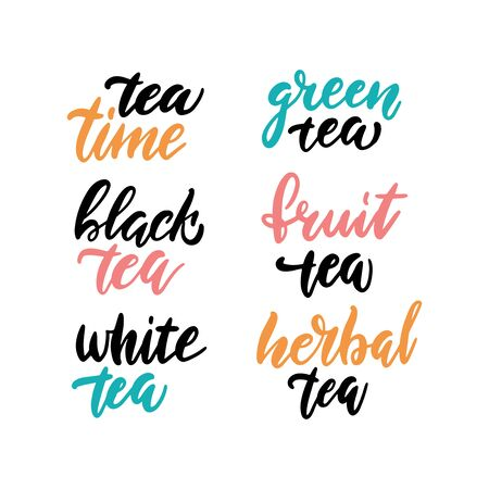 Tea time set for prints and posters, menu design, invitation and cards. Text with different types of tea. Brush Calligraphic and typographic collection. Vector illustration with hand-drawn lettering. Ilustrace