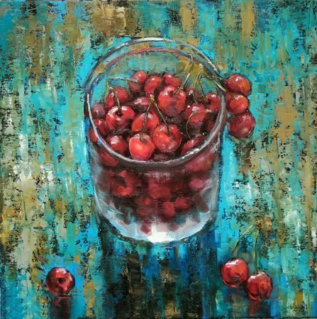 Oil picture - Summer composition with sweet cherries in glass jars on a wooden table with scattered berries. Rustic decor. Fresh cherry berries in a glass jar. Canned fruits expressive painting.