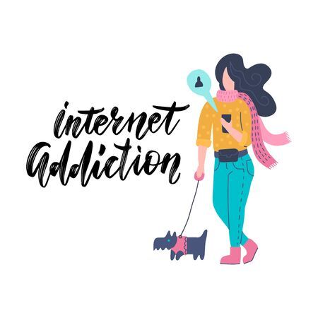 Funny young woman communicating via smartphone while walking with dog. Girl surfing internet on mobile phone. Online or digital communication, social media addiction. Flat cartoon vector illustration.