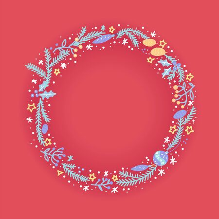 Hand drawn wreath with berries and fir brancheson red background. Round frame for Christmas cards and winter design. Vector layout with copyspace in color doodle style.