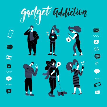Gadgets, smartphone addiction illustration. Black and white people. Set of men and woman use their phones, read online news, play games, social network, internet. Character vector flat illustration.