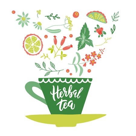 Unique hand written lettering concept. Flat drawing of a cup of herbal tea with falling herbs and berries in it. Hand drawn isolated vector illustration
