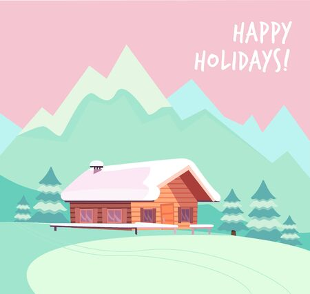 Winter snowy landscape with mountains and wood log country house. Christmas season card with text Happy holidays. Flat cartoon style vector illustration in pink mint colors.