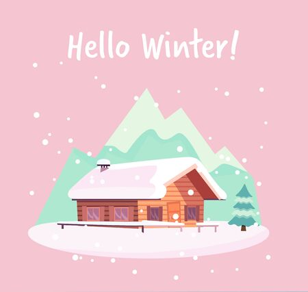 Winter snowy landscape with mountains and wood log country house and snowfall. Christmas season card with text Hello Winter. Flat cartoon style vector illustration in pink mint colors. Illustration