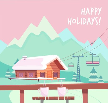 View from the ski cafe at a table with glasses of red wine. Ski resort with lift, house and winter mountains landscape. Flat cartoon style vector illustration. Illustration