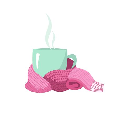 A cup in a scarf. Mug, wrapped in a knitted warm scarf. warming atmosphere for hanging out. Flat cartoon style illustration on white background. Illusztráció