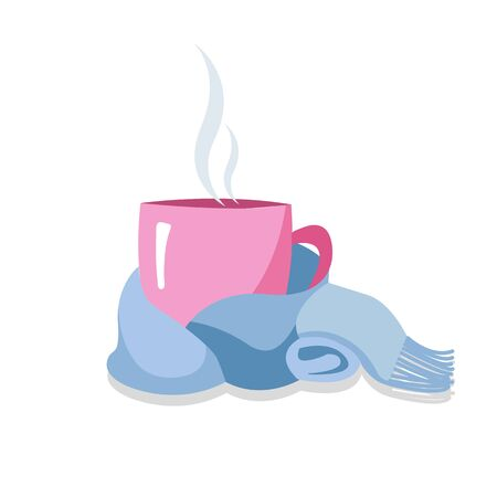 Pink Teacup tied with a blue scarf isolated on white. Warm and cozy winter. A cup in a scarf. Mug, wrapped in a knitted warm scarf. warming atmosphere for hanging out.Flat cartoon style illustration
