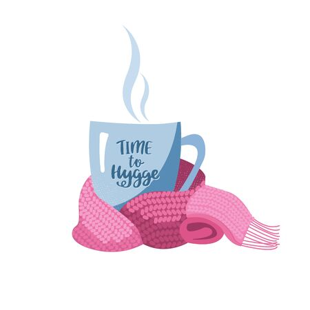 Blue mug with tea or coffee wrapped pink magenta scarf. Hand drawn lettering cup inscription Time to Hygge. Flat cartoon style illustration