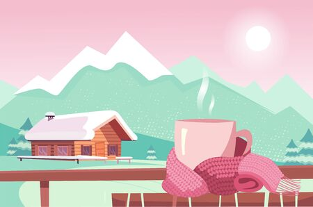 Pink Teacup tied with magenta scarf on table isolated on background of mountain view. Warm and cozy Christmas. Cafe in ski resort overlooking chalets and mountain peaks, slopes. Flat illustration