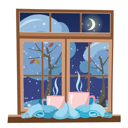 small and big pink mug wrapped in a light blue scarf and standing on the windowsill against the background of winter evening window. mugs tied together warming scarf. Flat cartoon vector illustration