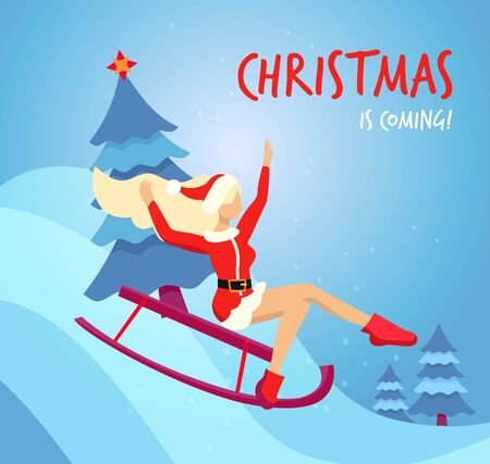 Flat cartoon vector illustration blond slender girl in traditional costume of Santa Claus slides down the hill on a red sled with christmas tree. Handwritten christmas is coming Greeting card.