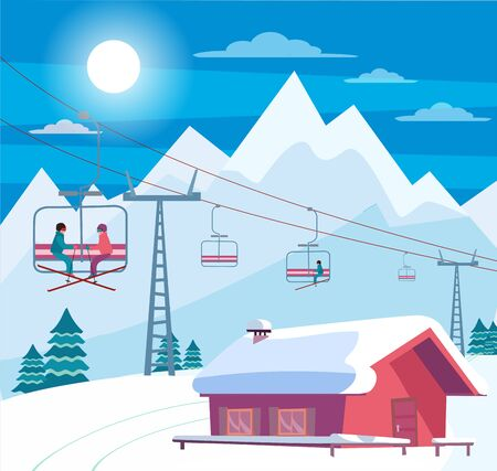 Winter snowy landscape with ski resort, lift, cable car, red house with snow-covered roof, Alps, fir trees, nature and winter mountains landscape. Sunny weather. Flat cartoon style vector illustration Фото со стока - 134471124