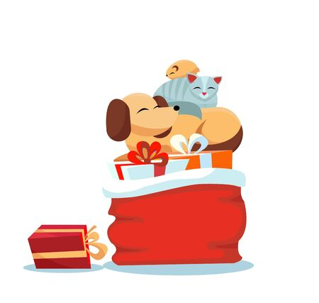 Red Santa Claus bag with christmas presents on white background with cat sleeps on dog, hamster sleeps on cat. Multicolored gift boxes are decorated with bows. Flat cartoon style vector illustration.