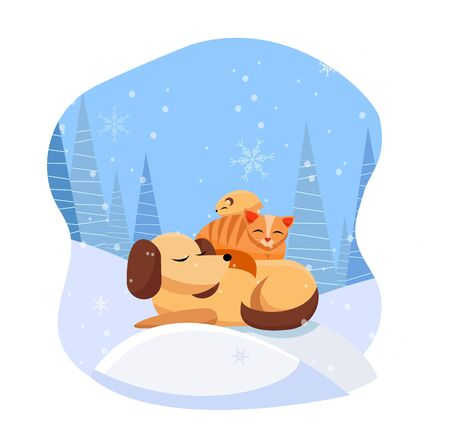 Pets sleeps comfortably on snowdrift in snowy forest. cat sleeps on dog, hamster sleeps on cat. Its snowing with large snowflakes. Flat cartoon vector illustration