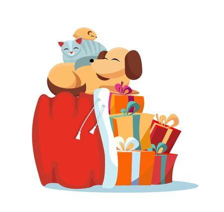 Pets cat, dog, hamster sleeps comfortably on Red Santa Claus bag with christmas presents on white background. Multicolored gift boxes are decorated with bows. Flat cartoon style vector illustration.