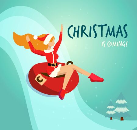 Flat illustration in vector slender girl in traditional costume of Santa Claus drives down from a snowy mountain in red tubing. Handwritten christmas is coming Greeting card. Long red hair fluttering