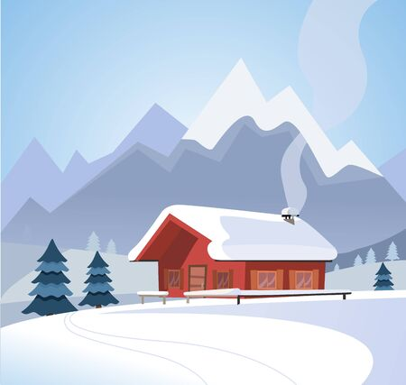 Winter snowy landscape with mountains and wood log country house, spruces, firs, snowy nature, sunny weather. Christmas season card. Flat cartoon style vector illustration in blue colors.