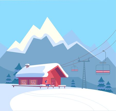 Winter snowy landscape with ski resort, lift, cable car, red house, snow-covered roof, untouched nature and winter mountains landscape. Flat cartoon style vector illustration. Illustration