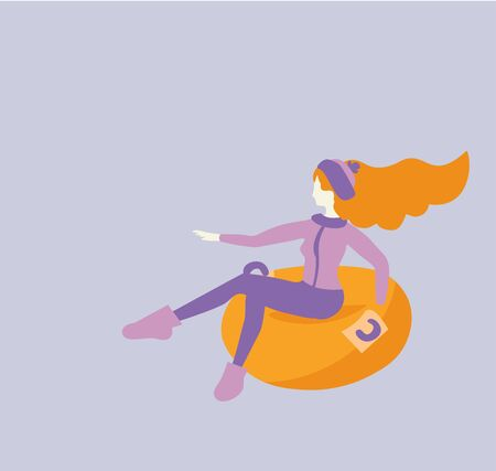 Vector cartoon flat girl in hat sledging at inflatable tube, snowtubing outdoors in winter with long red hairs . Young joyful caucasian white woman sledding on snow rubber tube.Winter activity concept