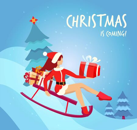 Flat cartoon vector illustration slim girl in traditional costume of Santa Claus slides down the hill on red sled with christmas tree and many gift boxes. Handwritten christmas is coming Greeting card