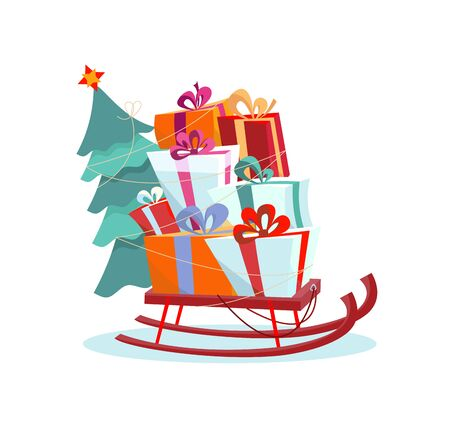 Childrens sled with pile of presents and a Christmas tree on a white background. Volume multicolored gift boxes are beautifully decorated with ribbons and bows. Flat cartoon style vector illustration