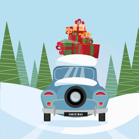 Flat vector cartoon illustration of retro car with present on the roof. Little classic blue car carrying gift boxes on its rack. Vehicle back decorated with wheel, car rear view.Snow-covered landscape
