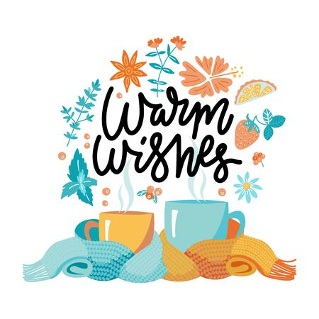 Two mugs in scarf. Cozy composition of 2 cups with lettering Warm wishes. Mugs, wrapped in a knitted warm scarf. warming atmosphere for hanging out. Flat cartoon style illustration on white background