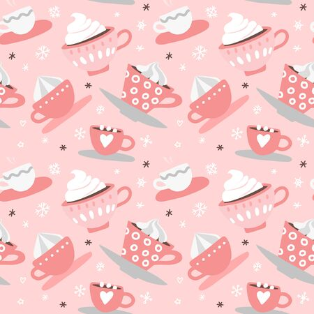 Seamless pattern with hand drawn pink Valentines Day romantic cute cups, mugs, hearts, coffee, cocoa and more. Vector illustration background in pink and white colors.
