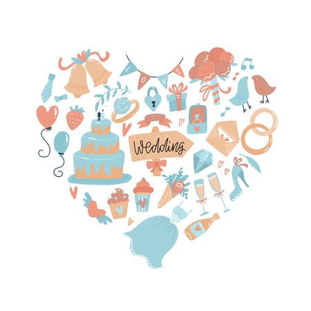 Wedding icons arranged in Heart shape. Hand drawn doodle Love Wedding Set. Engagement concept. Valentines day print. Couple in love and romantic - dress, tart, cake, champagne with lettering.