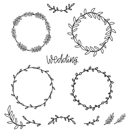 Vintage decorative collection of laurels and wreaths. Tribal design elements. Perfect for wedding invitations, greeting cards, quotes, blogs, posters etc. Hand drawn vector illustration Standard-Bild - 134628914