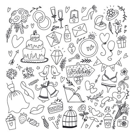 Wedding day elements. Hand drawn set with flowers,bride dress , shoes, glasses for champagne and festive attributes. Drawing doodle collection, isolated on white background. Just married collection