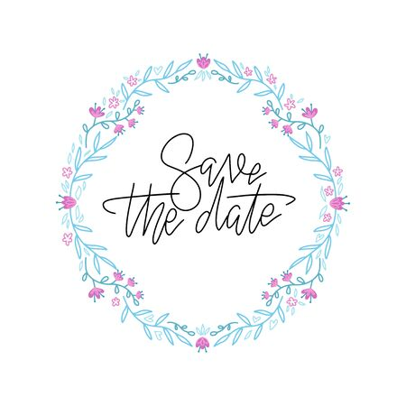 Vintage hand drawn wreath design element. Circle frame for wedding invitation, save the date lettering card and other.