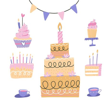 Birthday cakes set, vector hand drawn colorful doodle illustration. Cherry, strawberry and chocolate cakes with candles and other birthday party decorations, isolated on white background.