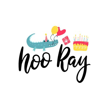hooray hand lettering with crocodile with balloons and cake clip art. Birthday sublimation print design. Birthday, anniversary, graduation party vector clipart Çizim