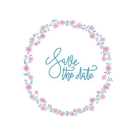 Floral round Frame. Cute retro flowers arranged un a shape of the wreath perfect for wedding invitations and birthday cards. Vector decor.
