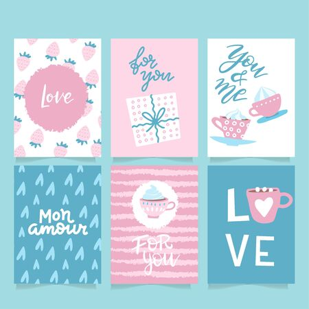Set of 6 vector Valentine's inspired greeting cards with hearts, simple flat style. Perfect for gift tags, poster.