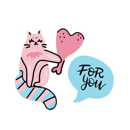 Cute and funny pink cat character. Kitten gives a heart-shaped chicken leg holding it in its paw. yand drawn cartoon vector illustration isolated on white background for comic print to Valentines day Illustration