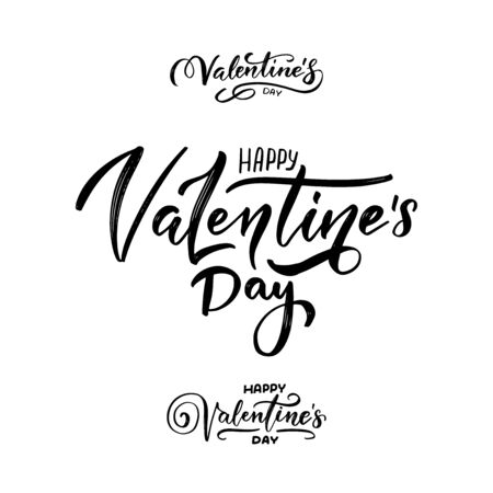 Set of hand written lettering phrases Happy valentines day. Collection of brush painted lettering phrases